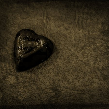 A black and white candy heart