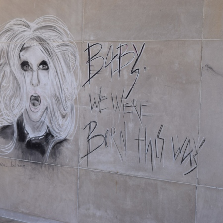 "Lady Gaga graffiti ""Baby we were born this way"""