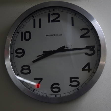 Wall clock showing 8:14